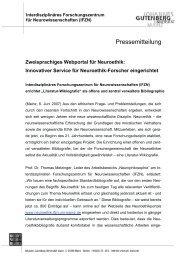 Pressemitteilung - IFZN - Johannes Gutenberg-Universität Mainz