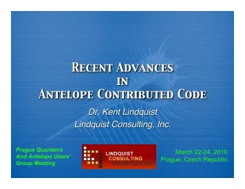 Recent Advances in Antelope Contributed Code