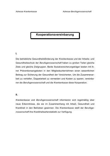 muster eines kooperationsvertrages initiative gesundheit arbeit - Muster Kooperationsvertrag