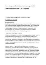 CSU zu BN-Kernforderungen - Bund Naturschutz in Bayern eV