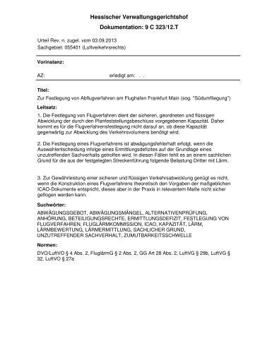 Schriftliche Begründung - Deutscher Fluglärmdienst eV