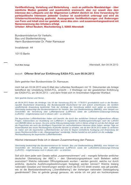 Offener Brief An Herrn Bundesminister Dr Ramsauer Flugschule