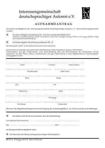 aufnahmeantrag - Interessengemeinschaft deutschsprachiger ...