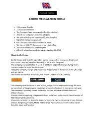 BRITISH MENSWEAR IN RUSSIA - Igedo Company