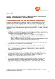 Summary of remarks made by GSK CEO, Andrew Witty, at the United ...