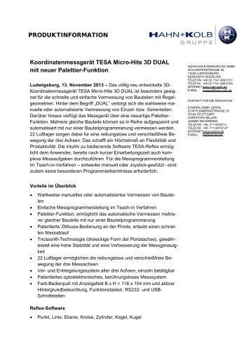 Koordinatenmessgerät TESA Micro-Hite 3D DUAL - Hahn +Kolb ...