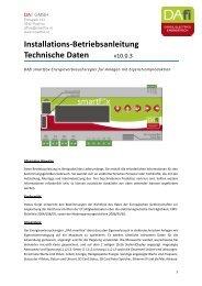 Installations-Betriebsanleitung Technische Daten