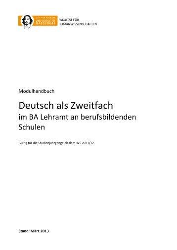 Deutsch als Zweitfach im BA Lehramt an berufsbildenden Schulen