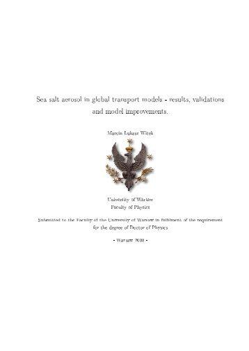 Sea salt aerosol in global transport models ... - Faculty of Physics