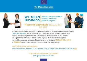 'We Mean Business' em Portugal