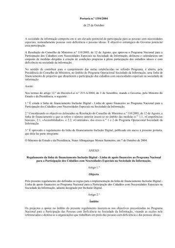 Portaria n.º 1354/2004 de 25 de Outubro A sociedade da ...
