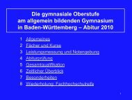 Die gymnasiale Oberstufe – Abitur 2010