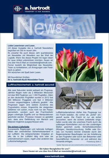 Newsletter 01/2013 - a. hartrodt