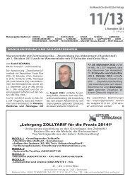 """Lehrgang ZOLLTARIF für die Praxis 2014!"" - Kitzler Verlag"