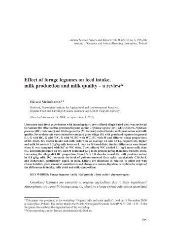 Effect of forage legumes on feed intake, milk production and milk ...