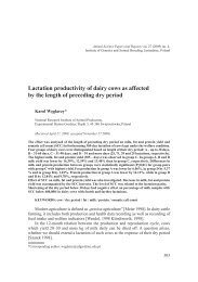 Lactation productivity of dairy cows as affected by the length of ...