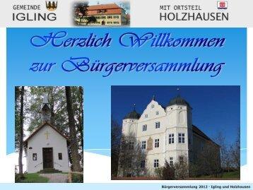 Bürgerversammlung 2012 · Igling und Holzhausen