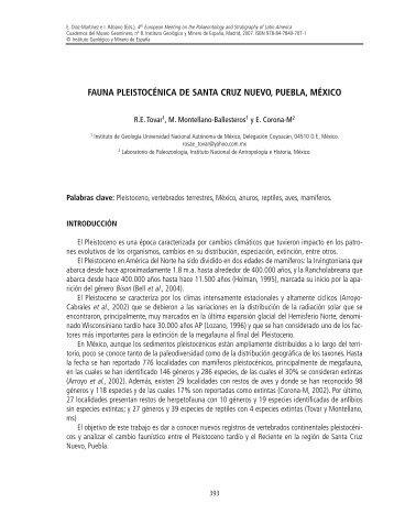 fauna pleistocénica de santa cruz nuevo, puebla, méxico - Instituto ...