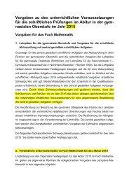 Vorgaben Abitur 2015 - Standardsicherung NRW