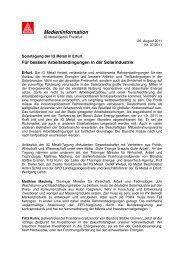 Pressemitteilung mit den Statements aller ... - IG-Metall