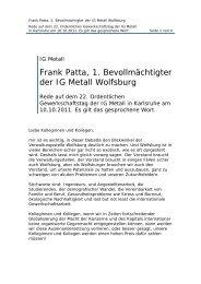 Frank Patta, 1. Bevollmächtigter der IG Metall Wolfsburg
