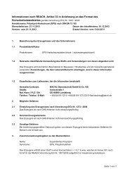 Informationen nach REACH, Artikel 33 in Anlehnung an das Format ...