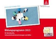 Zentrales Bildungsprogramm 2013 für Betriebsräte - IG Metall