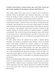 Production related disorders in fattened animals (pigs, cattle ...