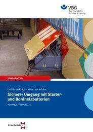 Sicherer Umgang mit Starter- und Bordnetzbatterien - VBG
