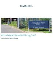 Umwelterklärung 2013 Mercedes-Benz Werk Hamburg - EMAS