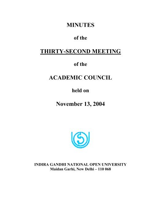 32nd Meeting of Academic Council - IGNOU