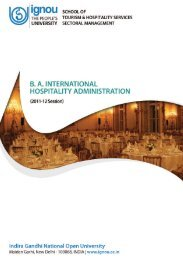 Centres offerIng BA International Hospitality Administration - IGNOU