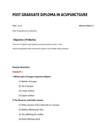 POST GRADUATE DIPLOMA IN ACUPUNCTGURE - IGNOU Online