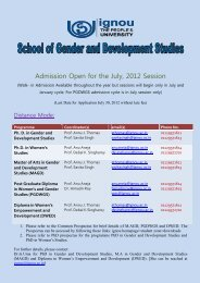 Admission Open for the July, 2012 Session - IGNOU