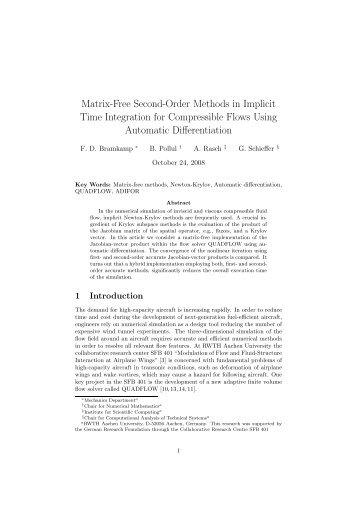 Matrix-Free Second-Order Methods in Implicit Time Integration for ...