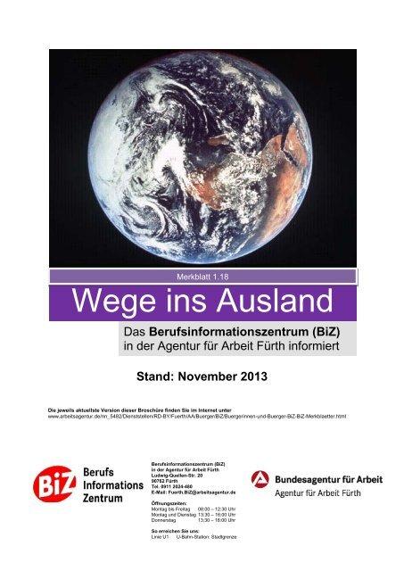 """Merkblatt 1.18. """"Wege ins Ausland"""" - Bundesagentur für Arbeit"""