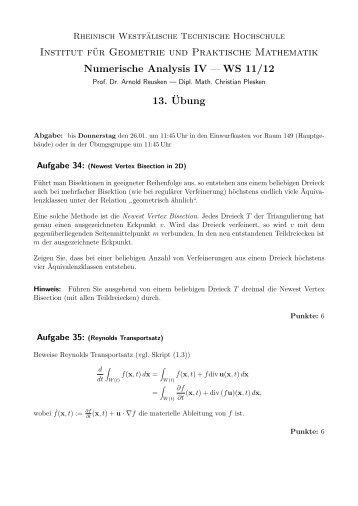 Übung 13 (pdf) - Institut für Geometrie und Praktische Mathematik