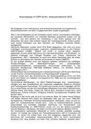 Zugänge 2003 - IGPP