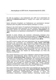 Zugänge 2005 - IGPP