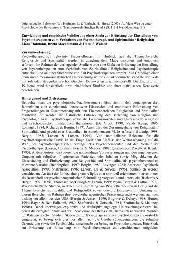 Entwicklung und empirische Validierung einer Skala zur ... - IGPP