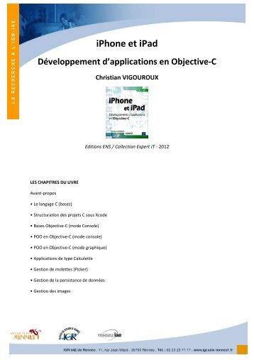 iPhone et iPad Développement d'applications en Objective-C ...