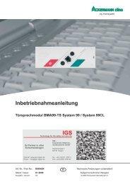 Ackermann - Türsprechmodul BMA99-TS (PDF) - IGS-Industrielle ...