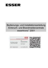 und Brandmelderzentrale essertronic 2001 - IGS-Industrielle ...