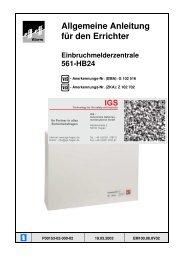 Einbruchmelderzentrale 561-HB48 - IGS-Industrielle ...
