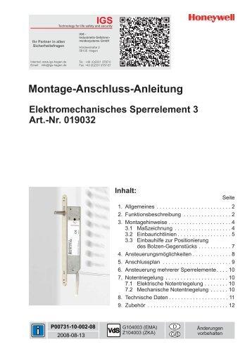Honeywell - Elektromechanisches Sperrelement 1 (PDF)