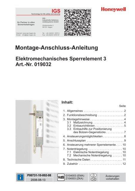 Honeywell - Elektromechanisches Sperrelement 3 - IGS-Industrielle ...