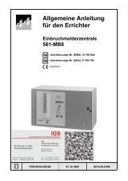 Honeywell - Einbruchmelderzentrale 561-MB8 - Errichter