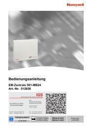 Honeywell - Einbruchmelderzentrale 561-MB24 - Bedienung (PDF)