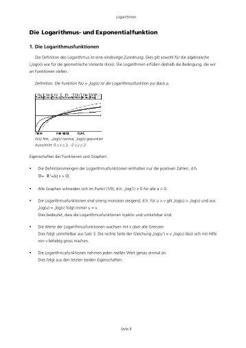 Die Logarithmus- und Exponentialfunktion