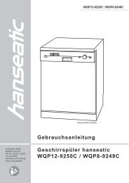 Gebrauchsanleitung Geschirrspüler hanseatic WQP12-9250C ...